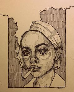 Art Sketches Ideas - Mohamed Badawy on she smelled of cigarettes a. Pencil Art Drawings, Art Drawings Sketches, Sketch Drawing, Music Drawings, Charcoal Drawings, Anime Sketch, Tattoo Sketches, Tattoo Drawings, Tattoos