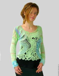 """Купить Пуловер""""Мятная сказка"""" - мятный, салатовый, пуловер вязаный, пуловер женский, пуловер ажурный"""