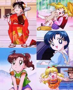 Sailor moon little girls Sailor Moon Manga, Sailor Moons, Sailor Moon Crystal, Sailor Jupiter, Arte Sailor Moon, Sailor Venus, Sailor Scouts, Manga Anime, Anime Gifs