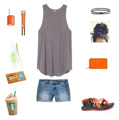 """""""Orange"""" by lbrittain ❤ liked on Polyvore featuring Chaco, Essie, J.Crew, prAna, Clarins, Henri Bendel and Physicians Formula"""