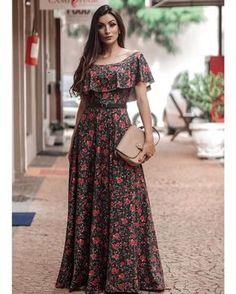 VESTIDO LONGO OMBRO A OMBRO FLORAL MODA EVANGÉLICA #modaevangelica #modafeminina #vestidos #vestidolongo