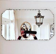 Scalloped edge Art Deco mirror , in beautiful vintage condition.