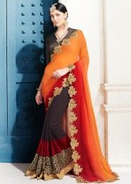 Party Wear Orange Georgette Embroidered Work Saree