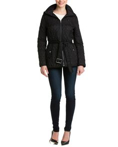 Black Quilted Belted Jacket   Marc New York