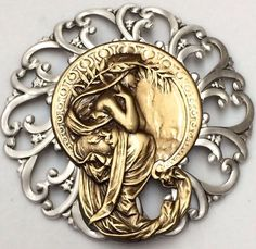 "2 3/4"" Sterling Overlay Stamped Filigree Brass Art Nouveau Button"