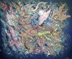 """""""จินตนาการจากรูปทรงสัตว์หิมพานต์ 1 """" ขนาด : 100x120 cm เทคนิค : acrylic on canvas  มนุษย์+คชสีห์+มัจฉา+วิหก เขียนขึ้นเมื่อปี 2013 ในวิชา Individual Study ขณะศึกษาอยู่ที่ คณะศิลปกรรมศาสตร์ สาขาจิตรกรรม มหาวิทยาลัยบูรพา"""