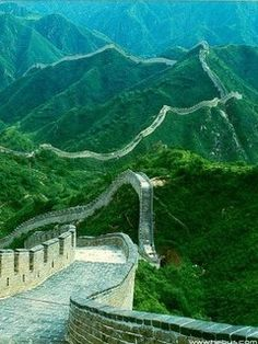 Great wall of China. Over 5,000 miles long, this wall began construction under the first Chinese Emperor in 220BC. WOW
