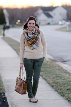 Fashion Over 40 Outfit Ideas | I'm loving this army green and warm ivory combination! The scarf is the perfect piece to pull it all together!