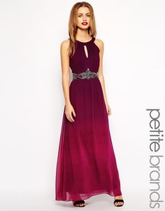 Enlarge Little Mistress Petite Ombre Maxi Dress With Embellished Waist