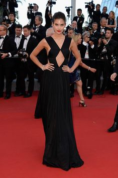 Sara Sampaio in Black Cutouts - Best of 2015: Red Carpet Gowns - Photos