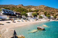 Agios Nikolaos beach at Spoa village, Karpathos island, Dodecanese, Greece Empire Ottoman, Karpathos, Greek Islands, Crete, Beaches, Mansions, Country, House Styles, Water