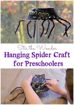 Hanging Spider Craft for Preschoolers: a fun craft for kids to make while learning about spiders or just as a Halloween decoration | Stir the Wonder
