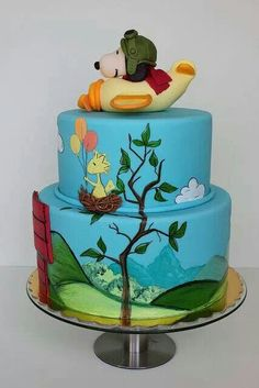 Snoopy & Woodstock two tiered cake