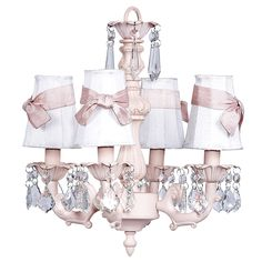 4-Arm Fountain Pink Chandelier with White with Pink Sash Shades