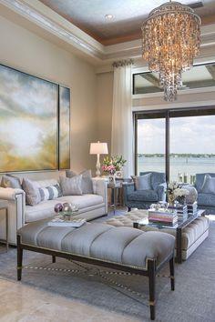 Living Room - Coastal Transitional - Christmas Decor - Studio M