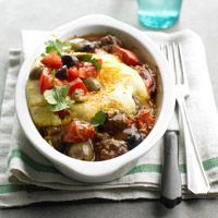 Tamale Pies     ingredients  1 pound ground beef  1 pound tomatoes, chopped  1/2 cup pitted olives   1/4 cup water  1/2 teaspoon salt  1/2 teaspoon ground black pepper  1 8 1/2 ounce package corn muffin mix  1/2 cup shredded cheddar cheese (2 ounces)