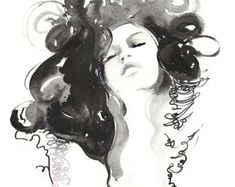 Fashion Watercolor Print, Fashion Illustration Print, Fashion Art Print Fashion sketch, Black and white watercolor, fashion wall art