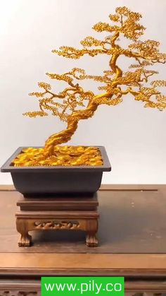 Diy Crafts For Home Decor, Diy Crafts Hacks, Diy Arts And Crafts, Copper Wire Crafts, Copper Wire Art, Wire Art Sculpture, Tree Sculpture, Bonsai Wire, Wire Trees