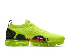 Nike Air VaporMax Flyknit 2. 0 Chaussures 2018 Pas Cher Pour Homme Noir  vert AJ6599 600 217326bfd