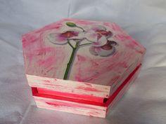 boite hexa rose collage papier de riz, peinture acrylique ref 2014/12/06