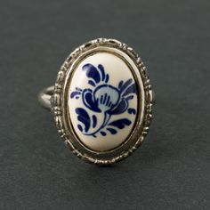 Vintage  Delft Ring Size 5 Adjustable by ShinyShelly on Etsy https://www.etsy.com/listing/202892661/vintage-delft-ring-size-5-adjustable