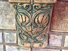 Detail of Batchelder tile corbel in Monrovia CA home fireplace. 1923