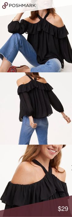 🌻LOFT 🌻Halter Off The Shoulder Blouse 🖤Modern boho style & back button-keyhole 🖤Off Shoulder  🖤Long sleeves with elasticized cuffs 🖤 Partially lined LOFT Tops Blouses