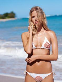 Dorado Shell Bottom | American made string bikini bottoms featuring a shell embroidery embellishment.  Adjustable side ties.