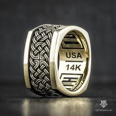 "NightRider Jewelry ""Celtic Knot Band"" in 14K Gold 