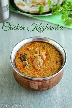 Spicy and Flavorful Chicken Curry authentic Tamil Nadu style Chicken Kuzhambu. Spicy Chicken Curry Recipes, Indian Chicken Recipes, Veg Recipes, Spicy Recipes, Indian Food Recipes, Asian Recipes, Cooking Recipes, South Indian Chicken Curry, Indian Cuisine