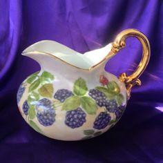 Hand Painted Ewer Pitcher, Blackberries, Gold Gilt Porcelain, Studio Art Pitcher, Artist Signed Vintage Decor