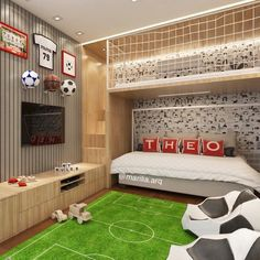 Designing and Decorating a Sports-Themed Nursery – Boy Room 2020 Boys Football Bedroom, Boy Sports Bedroom, Big Boy Bedrooms, Boys Bedroom Decor, Sports Themed Nursery, Boys Bedroom Ideas 8 Year Old, Theme Sport, Soccer Room, Cool Kids Rooms
