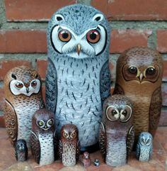 Beautiful set of ten nesting dolls was carved of wood, hand painted and signed by the artist in Central Russia. Matte finish. Ten dolls are covered with one layer of lacquer to protect the artwork. Tallest doll is ten inches. New. Owls of Africa. 1.White Faced scops 2.Pels Fishing 3.Cape eagle 4.Marsh Owl 5.Barred Owl 6.Scops Owl 7.African Scops 8.African Wood 9.Madagascar Scops Owl 10.Barred Owl Shipping: United States $15.00 with tracking Canada First Class $26.00 with tracking…