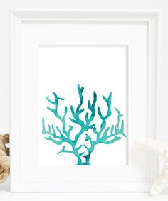 Look what I found on #zulily! Aqua Coral Watercolor Print #zulilyfinds
