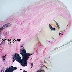 Sweeties, do you like this pink hair with blonde highlight? Our babe @RoseShock love her new hair. That hair color & makeup matches perfectly. This wig ➡️SNY023 is the Best sellerchecik it out , girls➡️www.donalovehair.comThanksgiving sale is underway, Use code: THANKS15to save $15 #donalove #donalovehair #wig #hair #makeup #pink  #pretty #thanksgiving