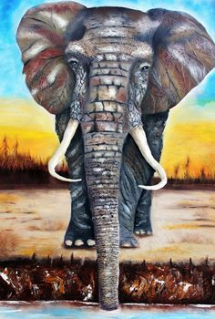 'Under the Saharan Sun' by Tara Richelle Three dimensional portrait of a regal African Elephant cooling off at the watering hole on a hot Saharan afternoon.