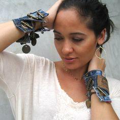 https://www.etsy.com/treasury/MjcyODA3ODh8MjcyNDg2MTI4Ng/delightful-denim Denim Cuff Bracelet  Jeans Bracelet  Levis  Blue by PieceLust, $25.00