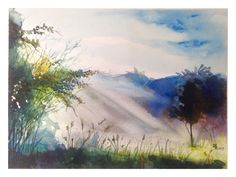 "vpsthakur: "" Title: The Late Morning Sunshine Watercolours on paper. 21 x 30 cm. Inspired by works of Watercolour Artist Ilya Ibryaev. """