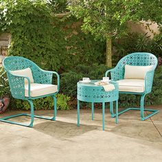 Transform your patio or porch this spring into a charming Parisian cafe with this simple, affordable 3-piece bistro set. Includes two chairs and one table, and is available in melon or neon blue.