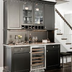 Wine cooler built in - I like the idea of cabinets on either side