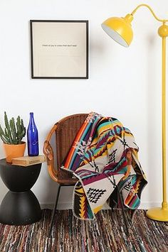 pendleton blankets, and that yellow lamp!