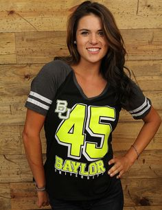 Baylor Bear fans wont be missed in this neon v-neck tee.