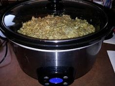 Crock pot pork chops and stuffing.
