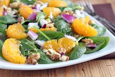 Quick and Easy Recipe for Asian Spinach Salad with Soy-Sesame Vinaigrette. The perfect side dish for your next meal or to take to a potluck! Side Dish Recipes, Dinner Recipes, Salad Recipes, Healthy Recipes, Free Recipes, Dinner On A Budget, Budget Dinners, Eat To Live, Asian