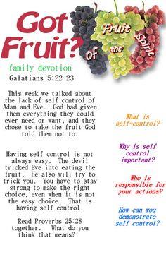 Fruit of the Spirit printable devotion on Self Control