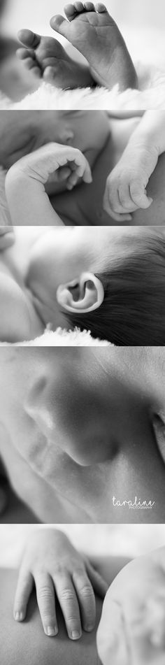 Lifestyle Newborn Photography by Taraline Photography. Love these detail shots in black and white