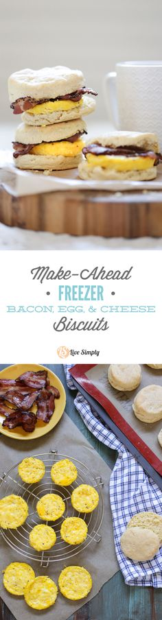 Homemade (real food style) bacon, egg, and cheese biscuits! Zero boxed or processed food ingredients. Plus, these sandwiches can be made in advance and frozen for later. The perfect busy breakfast mea (Cheese Snacks Egg Muffins) Frozen Breakfast, Breakfast Biscuits, Make Ahead Breakfast, Breakfast Recipes, Bacon Breakfast, Breakfast Healthy, Homemade Breakfast, Breakfast Time, Breakfast Casserole