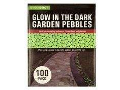 Glow in the Dark Garden Pebbles, 3 - Ideal for decorating pathways, flower beds and planters, this 100-piece Glow in the Dark Garden Pebbles Set features green plastic lima bean size pebbles that glow in the dark for a soothing light accent. After being exposed to an average day of sunlight, pebbles glow in the dark for approximately 5-8 hours. Comes packaged in an individual box.-Colors: green. Material: plastic. Weight: 0.6602/unit