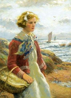 Fishergirl On The Shore ~ John McGhie ~ (Scottish 1867 - 1952):