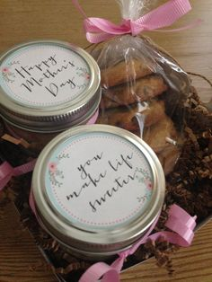 Happy Mother's Day with two cake in a jars and a half dozen chocolate chip cookies #cakeinajar #happymothersday #chocolatechipcookies